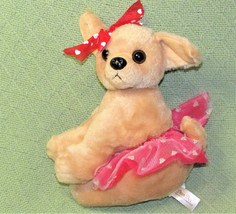 "10"" Dan Dee Ballerina Chihuahua Puppy Dog Pink Red Tutu Hearts Stuffed Animal - $17.82"