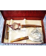 VINTAGE 3-PC STAINLESS STEEL BAR SET W/MARBLED LUCITE HANDLES, ORIGINAL BOX - $8.99