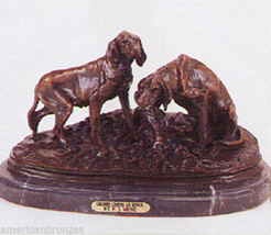 Resting Bloodhounds Solid American Bronze French Dog Sculpture by P.J. Mene - $511.56