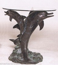 3 Dolphins Distinctive Solid American Bronze Glass Top Table by Castaño - $3,447.00