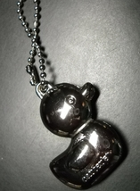 Carter's Duck Key Chain Heavy Bright Shiny Silver Colored Metal Snap Bead Chain - $7.99