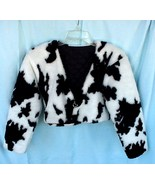 Fur Coat Cropped Jacket and Pants Set in Black and White Pony Print Faux... - $149.99
