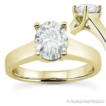 Forever Brilliant Oval Cut Moissanite 14k Yellow Gold Solitaire Engagement Ring - $442.73+