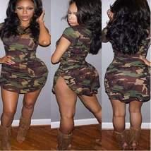 Sexy Camouflage Print Irregular Women Bodycon Dress - $18.00