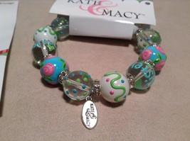 NEW Kate & Macy Hand Painted Glass Bracelet/Earring Sisters Forever Set image 2