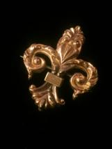 Vintage 30s Gold Plated Fleur De Lis Brooch/Pendant