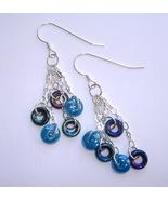 Blue Glass Beaded Earrings Silver Chain Handmade 5 Tier Dangle Pierced N... - $35.00