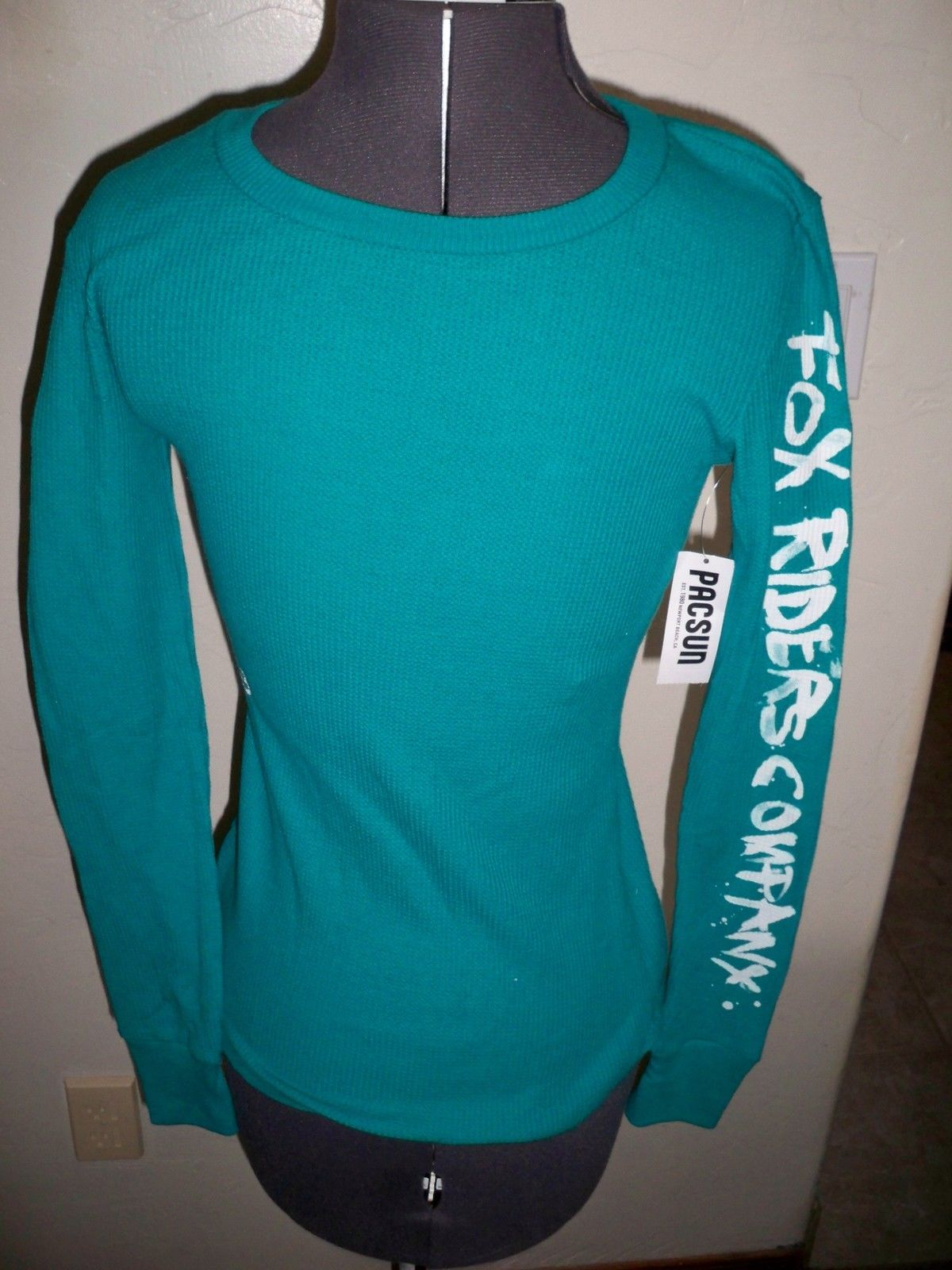 9202078e4 Women fox racing long sleeve thermal tee shirt teal fox logo new JPG  1200x1600 Teal fox