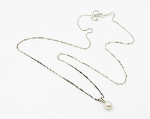 ITALY 925 Silver - Vintage Beaded White Pearl Pendant & Chain - N1476