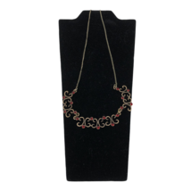 New Avon Gold Tone Embellished Collar Necklace Pendant Red Rhinestones  - $14.84