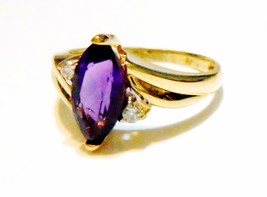 14K Yellow Gold Amethyst Marquise Solitaire & Diamond Ring, Size 7, 3.93(TCW) - $161.99