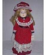 """Vintage 1982 """"MANN"""" Musical Porcelain Doll Michelle Red Velvet Dress - $8.95"""