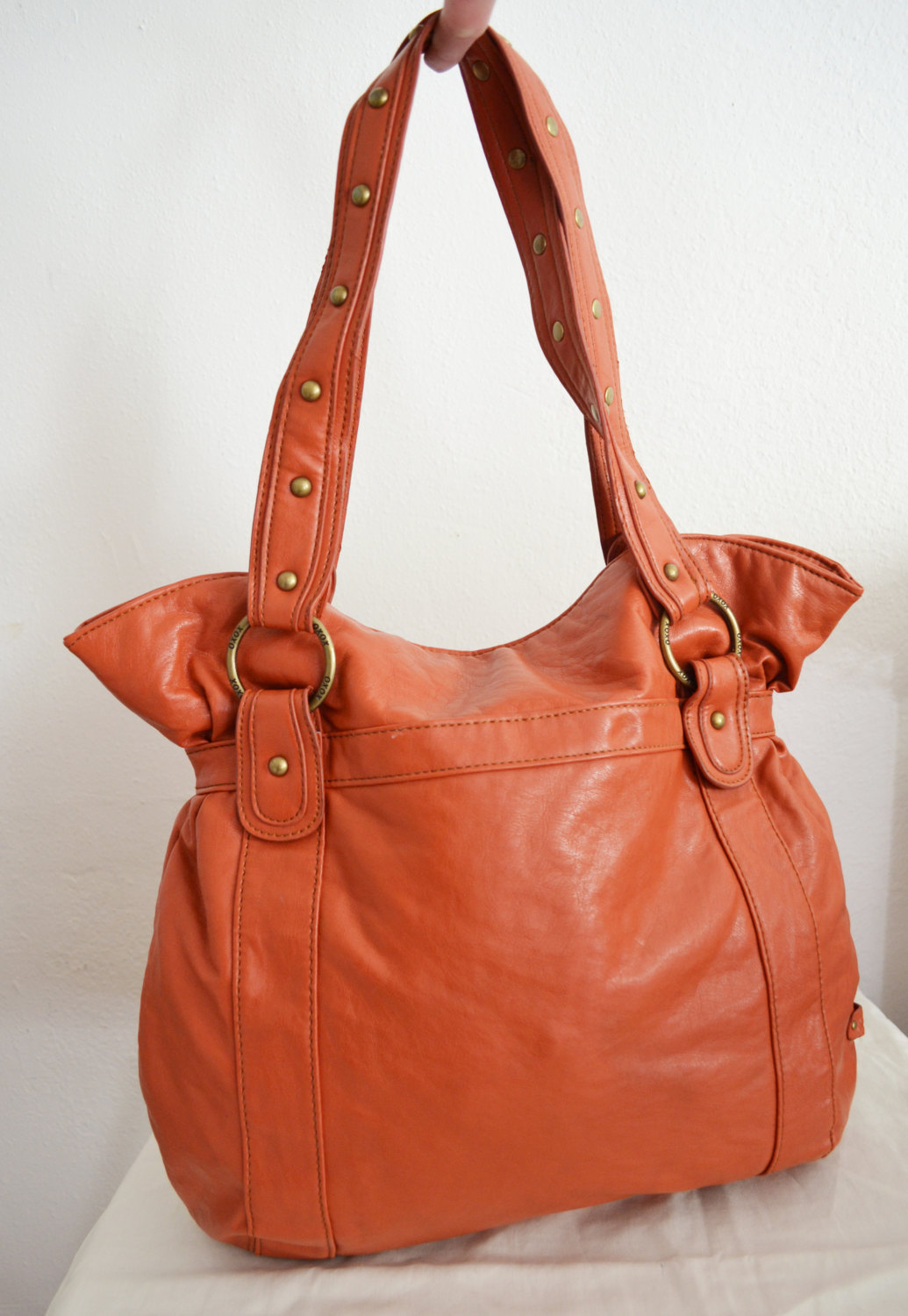 Free Ship Large Faux Leather Purse Orange XOXO Shoulder Bag
