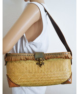 Free Ship Leather and Weaved Sisal Purse Fringed Shoulder Bag Clean - $25.00