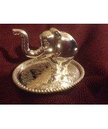 Free ship Cute Elephant silver plate ring holder jewelry display oval tr... - $14.99