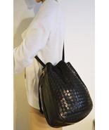 Free Ship Nice Black Weaved Soft Leather Purse Shoulder Bag - $30.00
