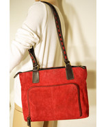 Free Ship Red Suede Leather Purse Giani Bernini Organizer Shoulder Bag - $32.00