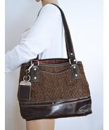 Free Ship Tignanello Tweed Purse Vegan Faux Leather Trim Shoulder Bag - $34.00