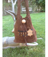 Vintage unused brown suede leather purse beaded fringe shoulder bag w/ w... - $21.99