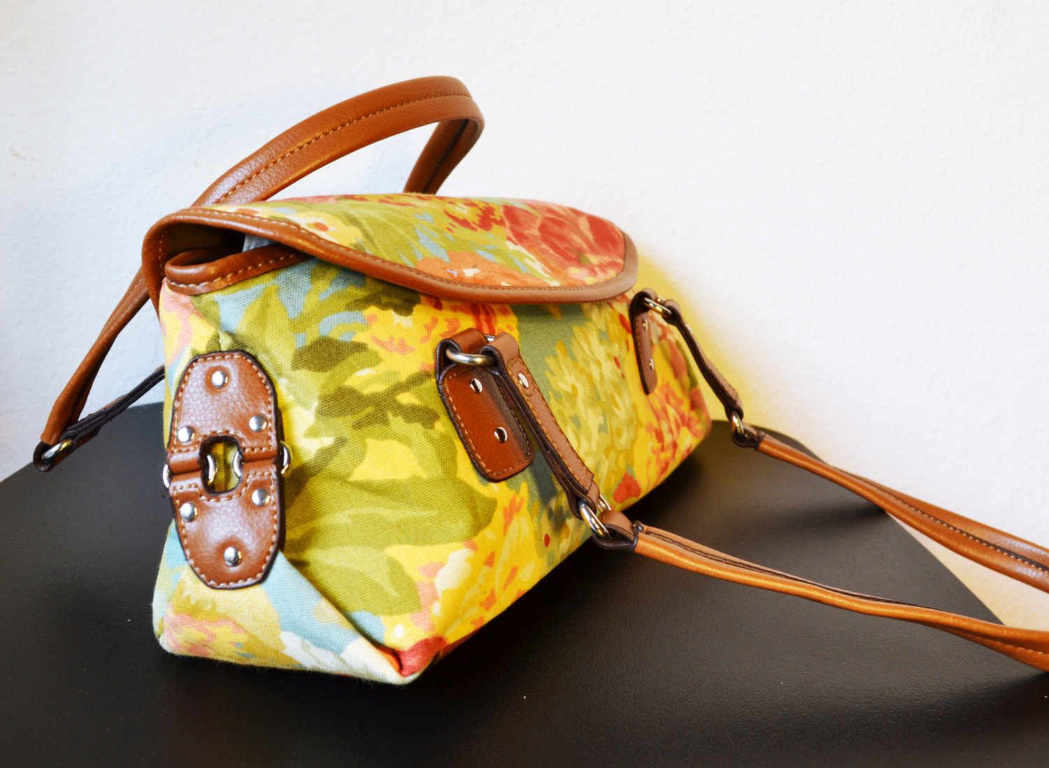 Free Ship Floral Canvas and Faux Leather and 31 similar items a278853302147