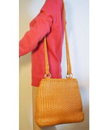 Free Ship Talbots Brown/Tan Weaved Leather Purse Clean Shoulder Bag - $48.00