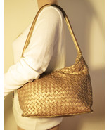 Free Ship Fossil Metallic Gold Purse Weaved Leather Shoulder Bag Clean - $28.00