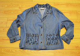 Free Shipping Denim Embroidered Jacket Size Medium - $21.00
