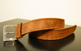 Free Shipping Brighton Nice Leather Belt with Hammered Silver Tone Buckl... - $25.00
