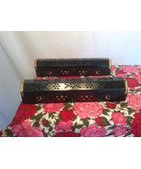Hand made wood and copper incense burner coffin boxes box moons & stars - $19.99
