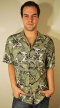 Free Ship Green Hawaiian Shirt Caribbean Joe Floral Men's Small - $21.99