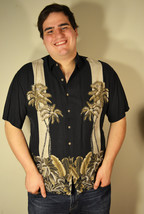 Free Ship Campia Moda Hawaiian Shirt Black with Palm Trees Tan Size XLarge - $21.99