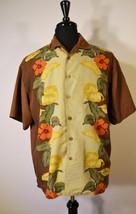 Vintage Joe Marlin Hawaiian Shirt Button Up Brown Floral Men's Large - $21.99