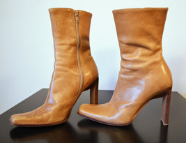 Steve Madden Brown Distressed Leather Boots Wood Heel Size 5.5 - $30.00
