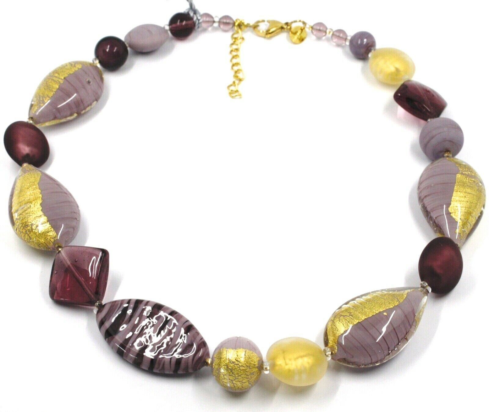 NECKLACE PURPLE SPHERE OVAL DISC DROP SQUARE MURANO GLASS GOLD LEAF, MADE ITALY
