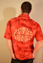 Free Shipping Arizona Jean Co Button Up Shirt Red and Orange with Tribal... - $21.99