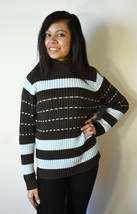 Classic Jeanne Pierre Brown and Blue Knit Sweater Turtle Neck L Large - $18.99