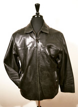 Wilson's Pelle Studio Men's Black Leather Coat L Large distressed look - $45.00