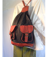 Free ship large black and brown leather backpack Bikers Bag Purse free s... - $21.99