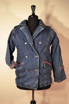 Girl's 10-12 Medium Arizona Jean Company Denim Coat Nice Quilted Plaid Lining Bl - $25.00