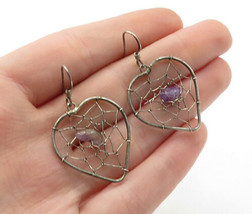 925 Sterling Silver - Vintage Amethyst Webbed Love Heart Dangle Earrings... - $22.54