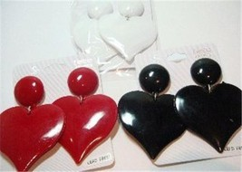 "RED WHITE BLACK LOVE HEART THEME DANGLE 80's RETRO EARRING 2"" 2 INCH JEW... - $7.95"