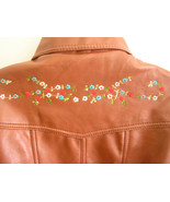 1970s vintage brown vegan leather pleather floral embroidery jacket size... - $9.89