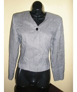 1980s vintage mod herringbone plaid black white blazer jacket size small... - $24.74