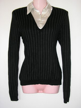 ralph lauren silk cashmere black white collar sweater pinstripes size me... - $49.49