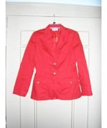 1970s vintage tomato red villager nautical lined blazer jacket size smal... - $24.74