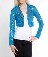 aqua blue sequin jacket shrug bolero short size... - $24.49