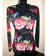 1990s vintage black semi sheer floral shirt long sleeves size medium small - $24.74