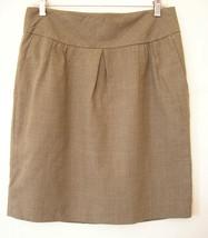 ann taylor loft retro pleated brown rayon wool short skirt size 6 medium large - $24.74