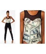sexy dollar bill $ money bodycon sheer stretch bodysuit size large black... - $29.69