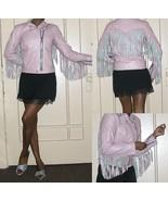 1980s vintage pink punk leather fringe motorcycle jacket size medium lar... - $197.99
